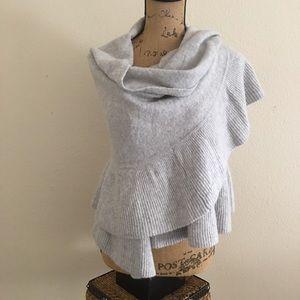 Rachel Roy grey ribbed ruffle wool blend wrap